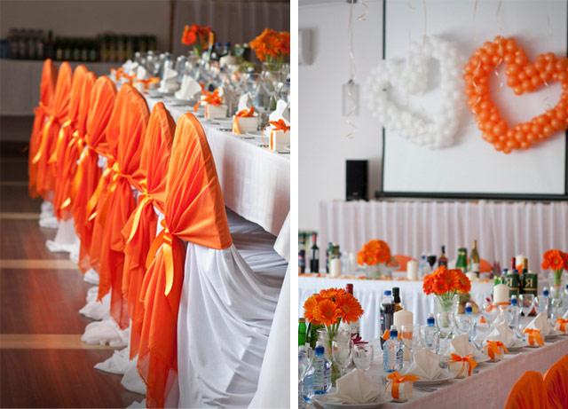 Оранжевая свадьба. Чехлы на стулья и букеты.