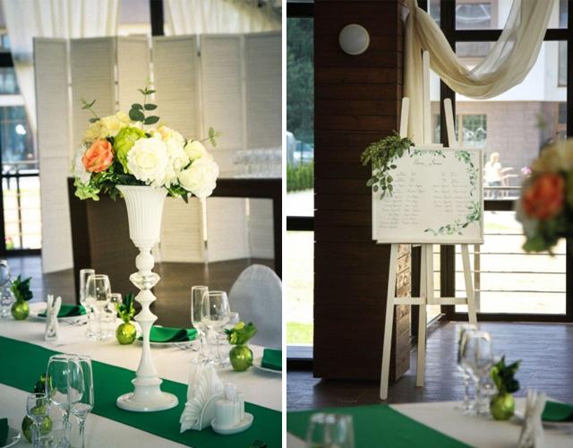 Зеленая свадьба. Оформление свадьбы в зеленых цветах.