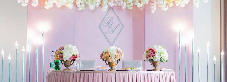 Свадебный декор стола молодых